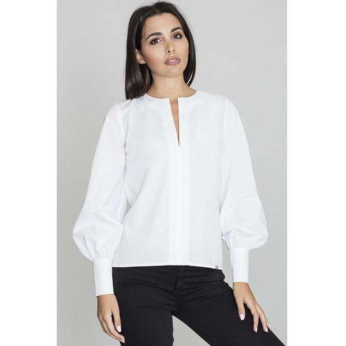 Biała Bluzka Koszulowa z Rozcięciem przy Dekolcie, kolor biały