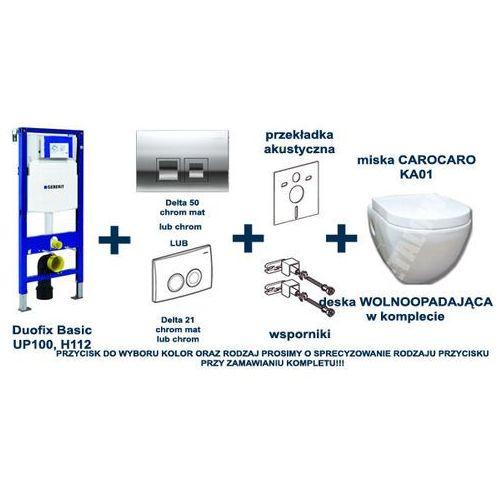 Zestaw podtynkowy WC stelaż GEBERIT DUOFIX BASIC (kpl. wsporniki + mata) + przycisk DELTA 21 lub 50 + miska CaroCaro KA-01 z deska wolnoopadającą - produkt z kategorii- Stelaże i zestawy podtynkowe