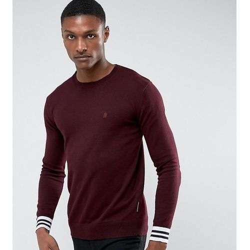 French connection tall crew neck knitted jumper with contrast cuff - red