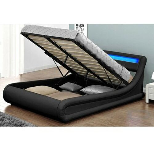 Łóżko tapicerowane do sypialni 140x200 138 led czarne marki Meblemwm
