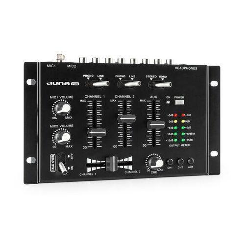 tmx-2211 mkii, 3/2-kanałowy didżejski pulpit mikserski, crossfader, talkover, montaż w racku, czarny marki Auna pro