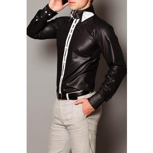 3807-2 Koszula męska slim fit - połysk - czarny, kolor czarny