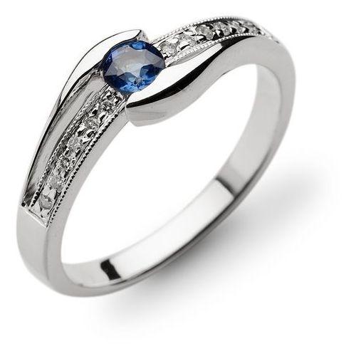Pierścionek ze złota z szafirem i brylantami (pierścionek)