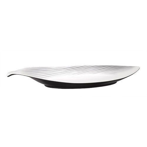 Półmisek z melaminy w kształcie liścia 465x210x65 mm, biały/czarny | , halftone marki Aps