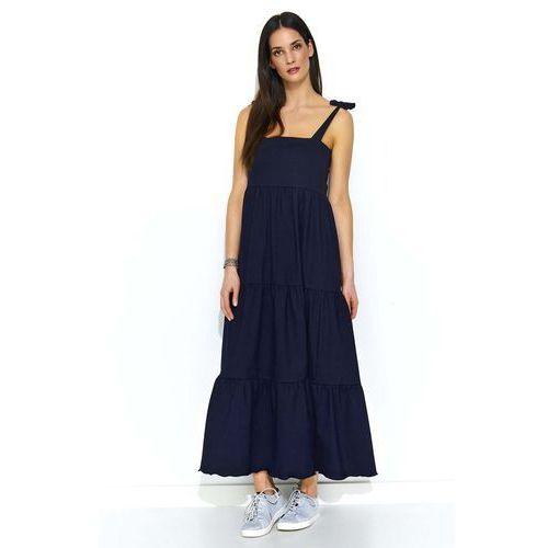 Granatowa Maxi Sukienka z Falbankami na Ramiączkach