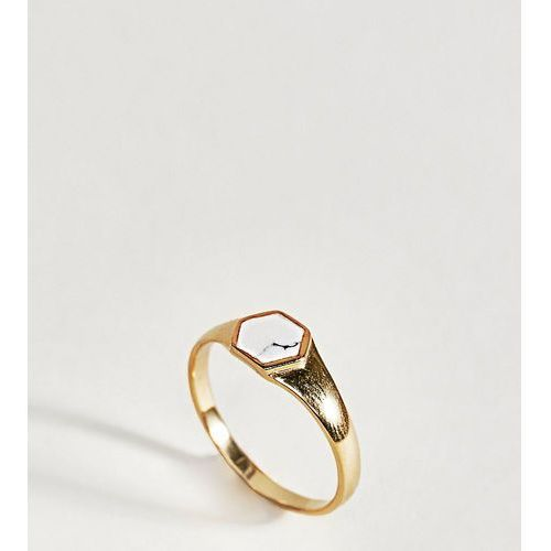 ASOS DESIGN Gold Plated Sterling Silver Faux Marble Stone Sovereign Ring - Gold