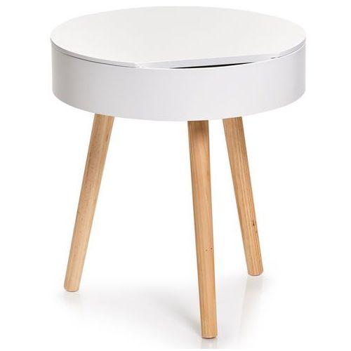 Zeller Biały stolik kawowy z drewna sosnowego, stolik do kawy, stolik do salonu, stolik do pokoju, stolik nocny, stolik drewniany,