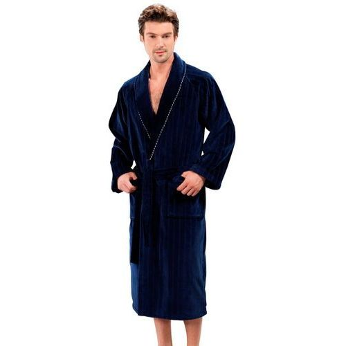 Soft cotton Luksusowy męski welurowy szlafrok sharp w ozdobnym opakowaniu m ciemnoniebieski