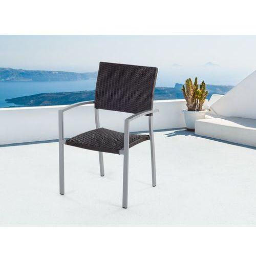 Meble ogrodowe brązowe - krzesło ogrodowe - rattanowe - balkonowe - tarasowe - TORINO