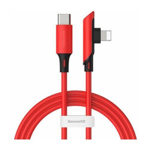 Baseus colourful kątowy kabel przewód z bocznym wtykiem usb typ c pd 18w - lightning 1,2m czerwony (catldc-a09) (6953156216587)