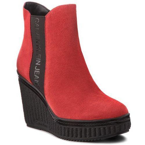 b814fde2c02d3 Botki CALVIN KLEIN JEANS - Shanna RE9765 Scarlet, w 6 rozmiarach 669,00 zł  Zgrabne botki producenta Calvin Klein Jeans. Przyjemnie układająca się na  stopie ...