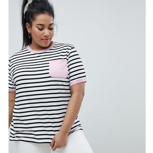 Asos design curve pocket stripe t-shirt with contrast binding - multi, Asos curve