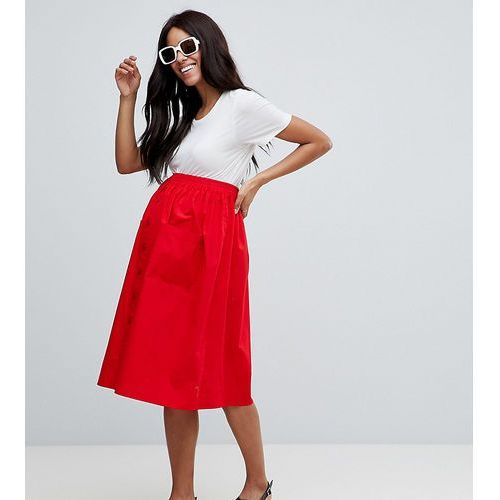 Asos design maternity cotton midi skirt with button front - red marki Asos maternity
