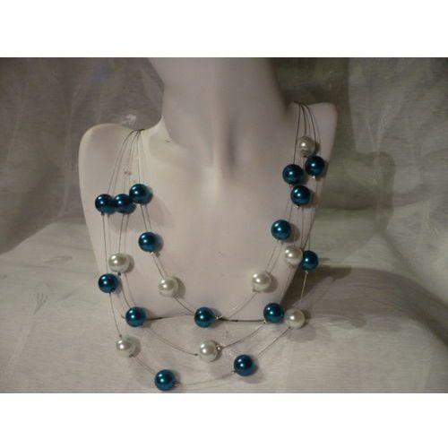 N-00039 Naszyjnik z perełek szklanych, turkusowych i białych