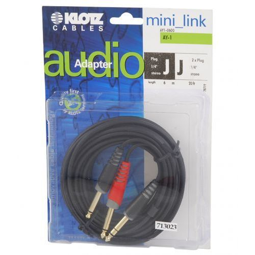 Klotz AY1 0600 kabel insertowy TRS / 2xTS 6m