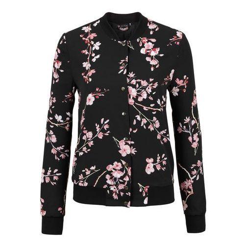Must Have: kurtka bomberka bonprix czarno-jasnoróżowy w kwiaty, w 3 rozmiarach