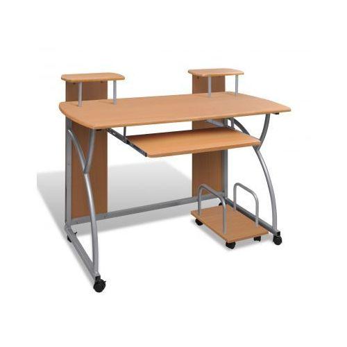 Biurko komputerowe, na kółkach, brąz - sprawdź w VidaXL