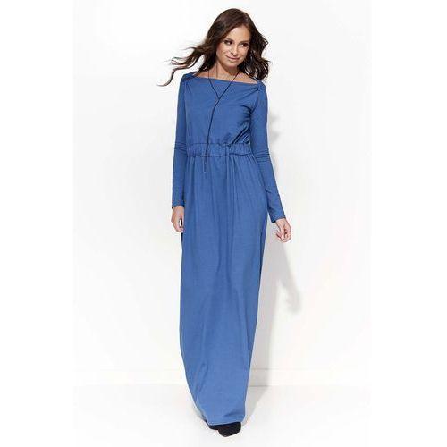 Jeansowa Długa Sukienka Ściągana w Pasie, w 2 rozmiarach