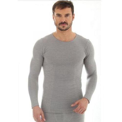 ls11600 koszulka męska z długim rękawem comfort wool jasnoszary marki Brubeck