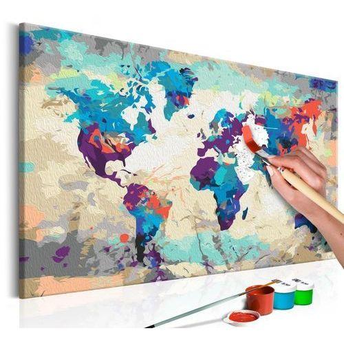 Artgeist Obraz do samodzielnego malowania - mapa świata (błękitno-czerwona)