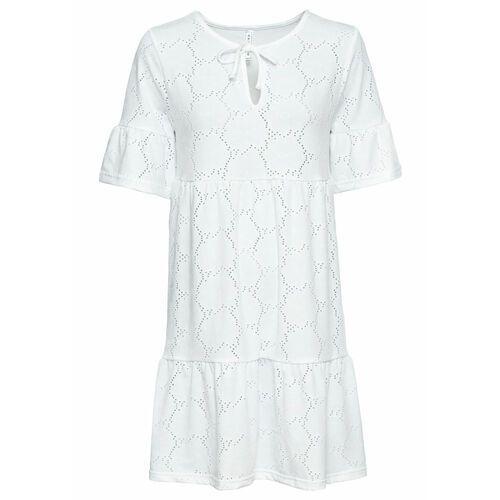 Bonprix Sukienka shirtowa z falbaną biały