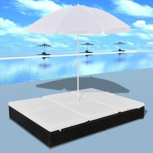 luksusowe łóżko rattanowe, czarne, leżak dwuosobowy z parasolem wyprodukowany przez Vidaxl