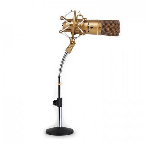 Studyjny zestaw mikrofonowy - mikrofon USB brązowy & stołowy statyw mikrofonowy