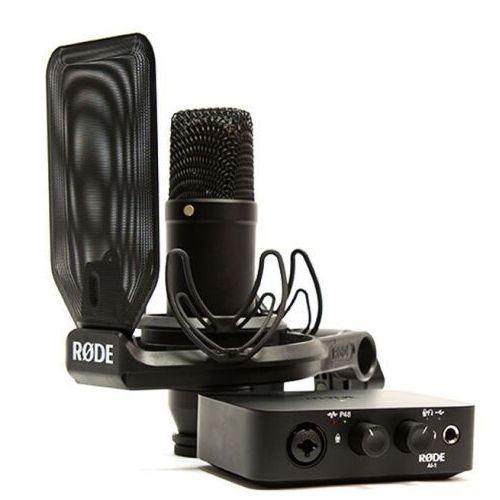 Rode nt1 + ai interface bundle studyjny mikrofon pojemnościowy z interfejsem audio
