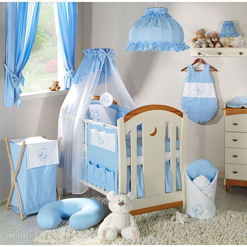 MAMO-TATO 16-el łóżeczko z szufladą + materac + pościel haftowana z baldachimem z szyfonu