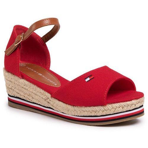 Espadryle - rope wedge sandal t3a2-30658-0048 red 300 marki Tommy hilfiger