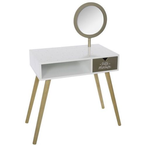 Toaletka dla dziewczynki w kolorze białym i złotym, toaletka kosmetyczna, toaletka z lustrem, toaletka nowoczesna, komoda toaletka (3560239687993)