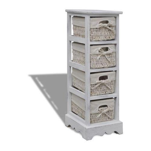 vidaXL Szafka drewniana, biała, pojedyncza, z wiklinowymi koszami - produkt z kategorii- szafki