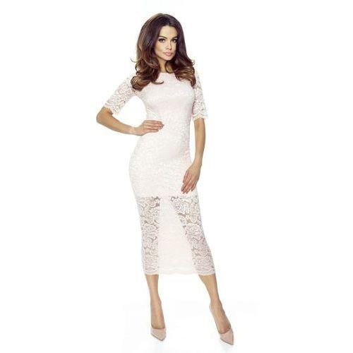 Dopasowana koronkowa sukienka z krótką podszewką, kolor różowy