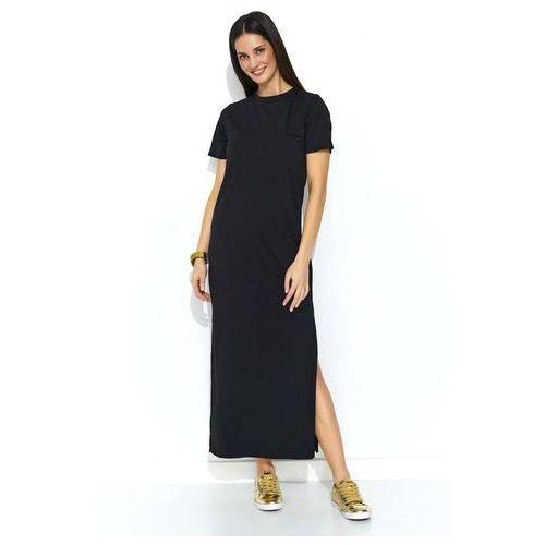 Czarna Dzianinowa Prosta Sukienka Maxi z Rozcięciem, w 2 rozmiarach