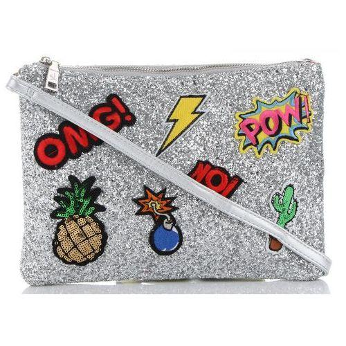 f55755d52a848 Brokatowe listonoszki torebki damskie w modne wzory do noszenia przez ramię  albo do ręki renomowanej marki srebrne (kolory) marki Diana co 59