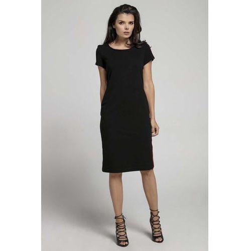 dce1a4e3d4 Czarna Wygodna Dzianinowa Sukienka za Kolano z Lampasem 109