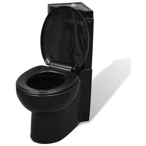 vidaXL Ceramiczna muszla klozetowa narożna czarna