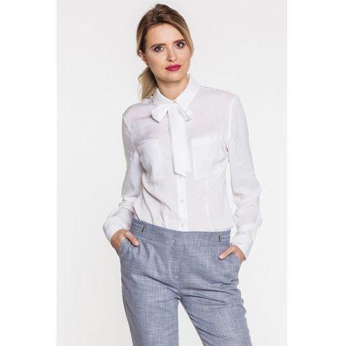 125e76fcdf Biała koszula z wiązaną kokardą - Duet Woman