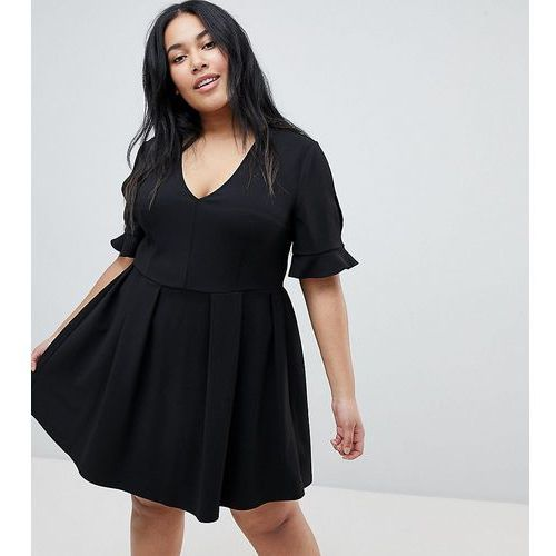 ASOS DESIGN Curve mini v neck smock dress with frill cuff - Black, 1 rozmiar