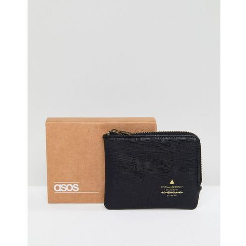 ASOS DESIGN faux leather zip around wallet with embossed logo in black - Black