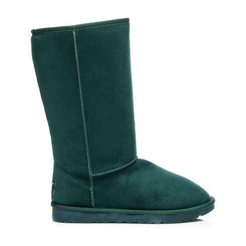 Zielone wysokie kobiece ciepłe śniegowce - odcienie zieleni, kolor zielony