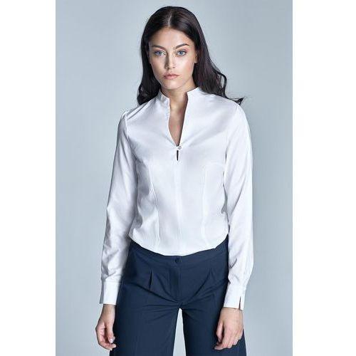 Biała Koszulowa Bluzka ze Stojką z Długim Rękawem, koszulowa