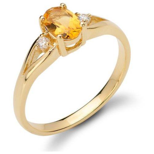 Pierścionek z cytrynem i brylantami, złoto 585 (pierścionek)
