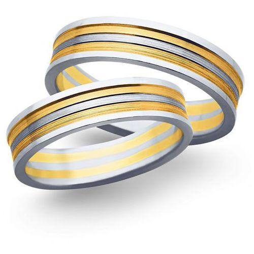 Obrączki ślubne z żółtego i białego złota 5mm - O2K/153, obrączka Świat Złota