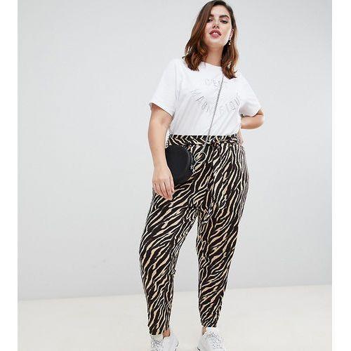 Asos curve Asos design curve tiger print belted peg trouser - multi