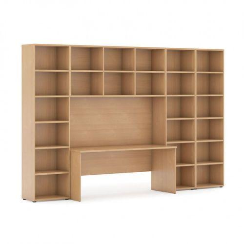 Biblioteka z wbudowanym biurkiem, 3350x700/400x1923 mm, buk
