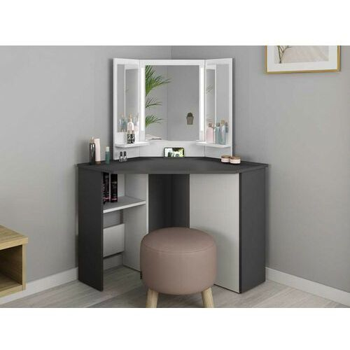 Toaletka charlene - lustro z diodami led i schowki - kolor biały i szary marki Vente-unique