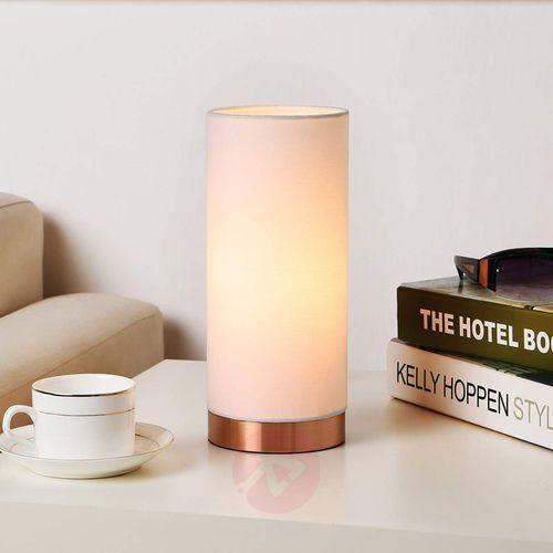 Biała lampa stołowa ronja z miedzianą podstawą marki Lampenwelt.com