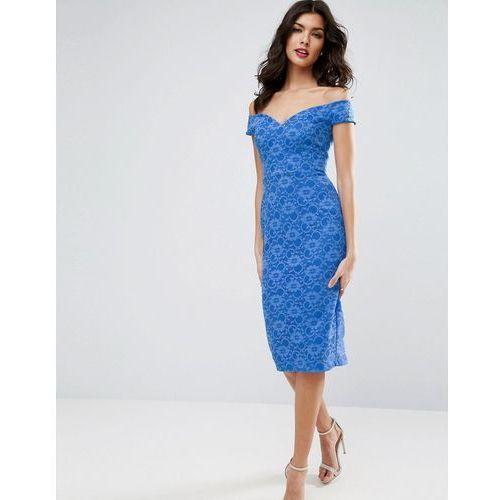 lace sweetheart bardot midi bodycon dress - blue marki Asos