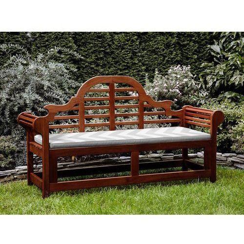 Beliani Ławka ogrodowa drewniana 180 cm poducha w szaro-beżowe zygzaki toscana marlboro